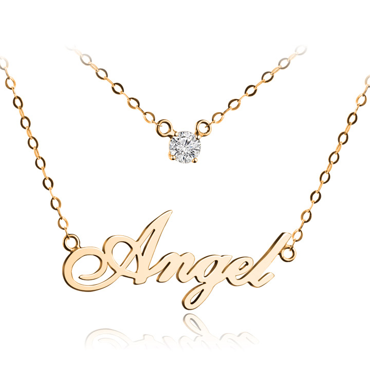 Double Layer Diamond Personalized Name Necklace